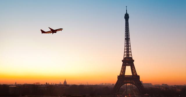 Tempo de viagem de avião até Paris