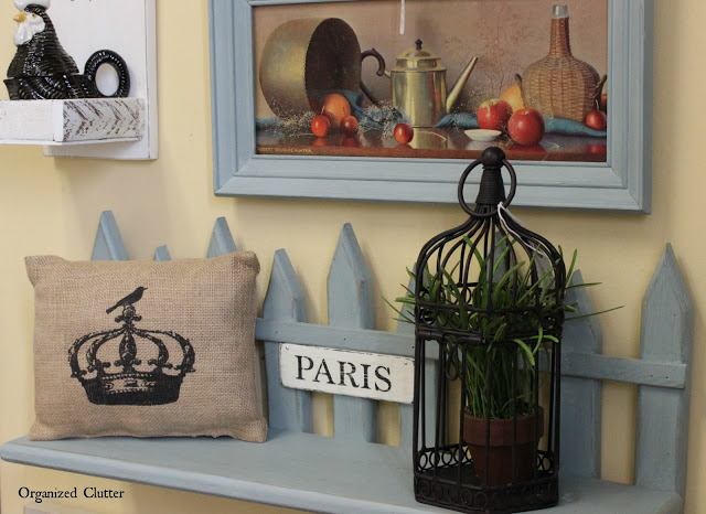 French Style Upcycle of a Picket Shelf #chalkpaint