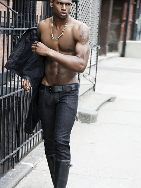 Broderick Hunter in skinny black jeans and boots shirtless