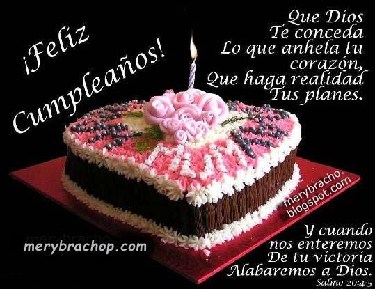 Frases de cumpleaños, imágenes cristianas de cumple, tarjetas con bonito saludo de felicitaciones por Mery Bracho.