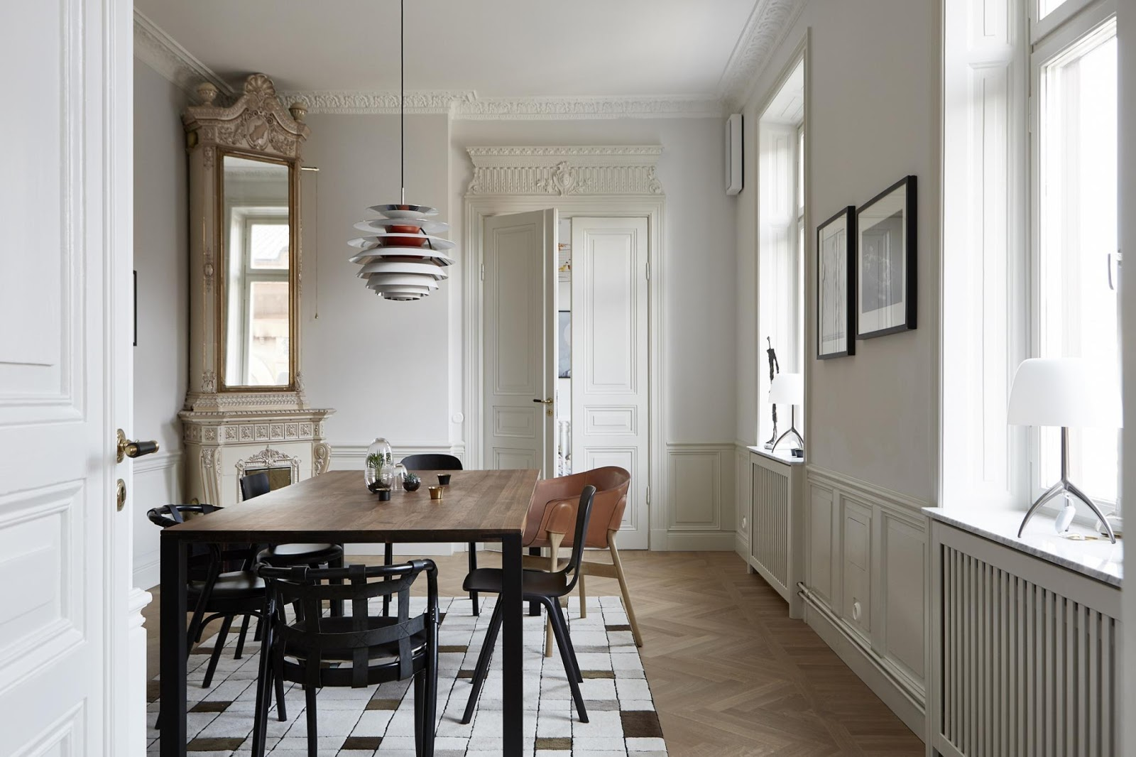 dining room inside of a large scandinavian aparment