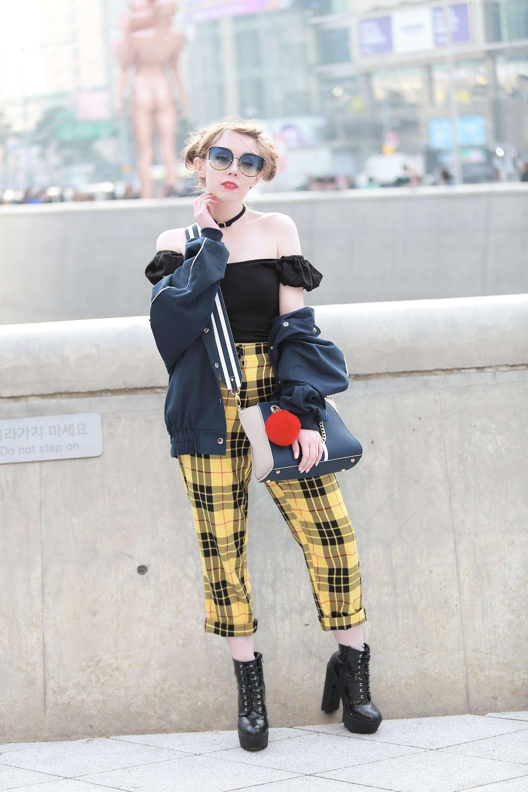 style inspiration yellow tartan trousers
