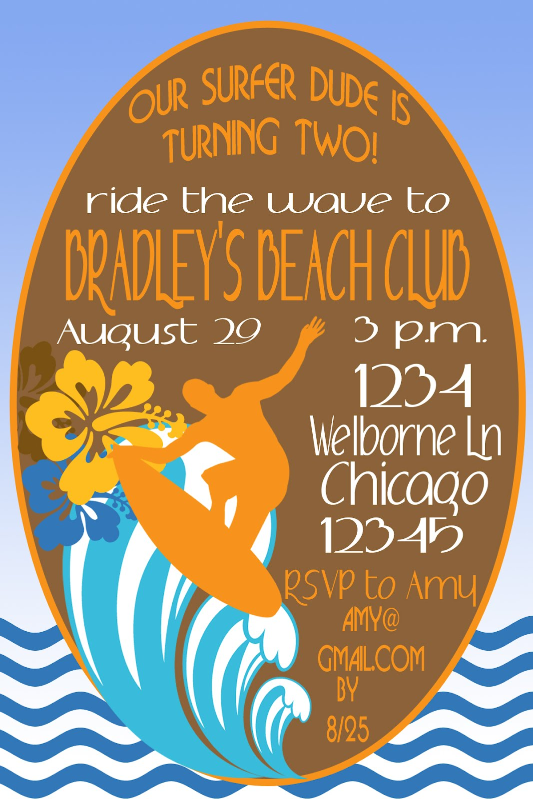Lil Mop Top Surfer Dude Party Invitation Inspiration