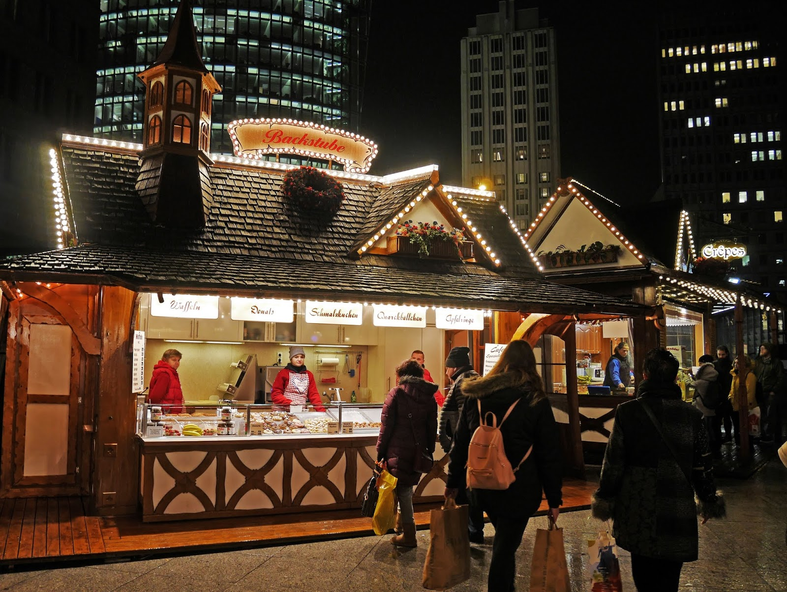 Food stall at the Potsdamer Platz Christmas Market in Berlin