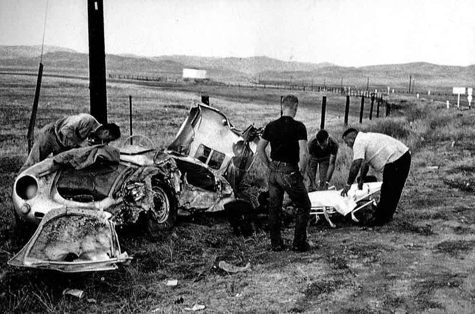 In September 1955, James Dean was killed in a horrific car accident whilst he was driving his Porsche sports car. After the crash the car was seen as very unlucky.  1) When the car was towed away from accident scene and taken to a garage, the engine slipped out and fell onto a mechanic, shattering both of his legs.  2) Eventually the engine was bought by a doctor, who put it into his racing car and was killed shortly afterwards, during a race. Another racing driver, in the same race, was killed in his car, which had James Dean's driveshaft fitted to it.  3) When James Dean's Porsche was later repaired, the garage it was in was destroyed by fire.  4) Later the car was displayed in Sacramento, but it fell off it's mount and broke a teenager's hip.  5) In Oregon, the trailer that the car was mounted on slipped from it's towbar and smashed through the front of a shop.  6) Finally, in 1959, the car mysteriously broke into 11 pieces while it was sitting on steel supports.