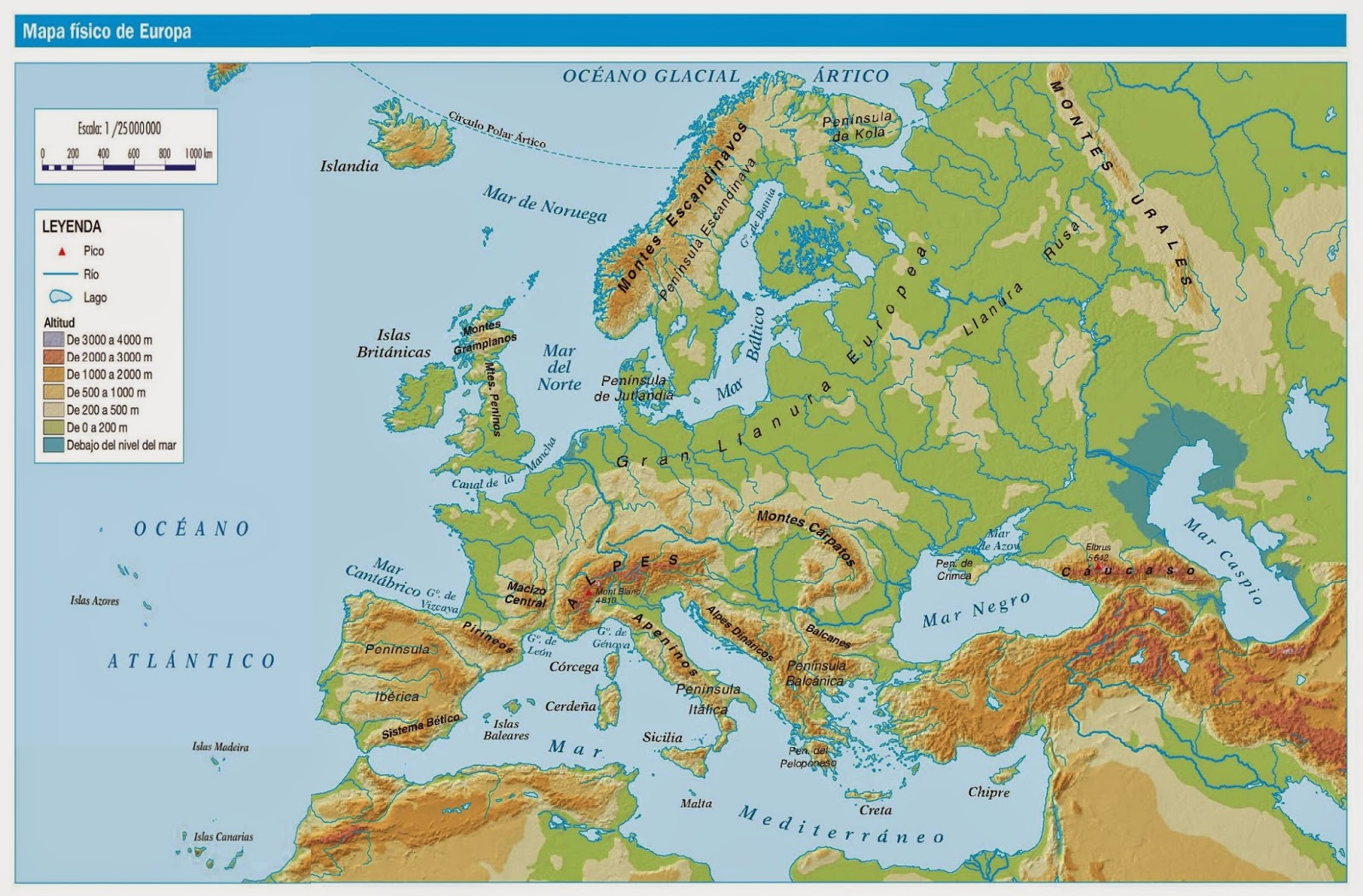 mapa europa com escala COMPENSATORIA 2º ESO GEOGRAFÍA E HISTORIA: MAPA FÍSICO DE EUROPA mapa europa com escala