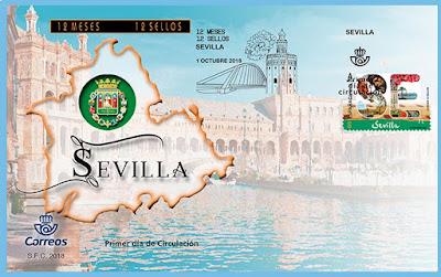 Sevilla - 12 meses, 12 sellos  -  Sobre Primer día de circulación