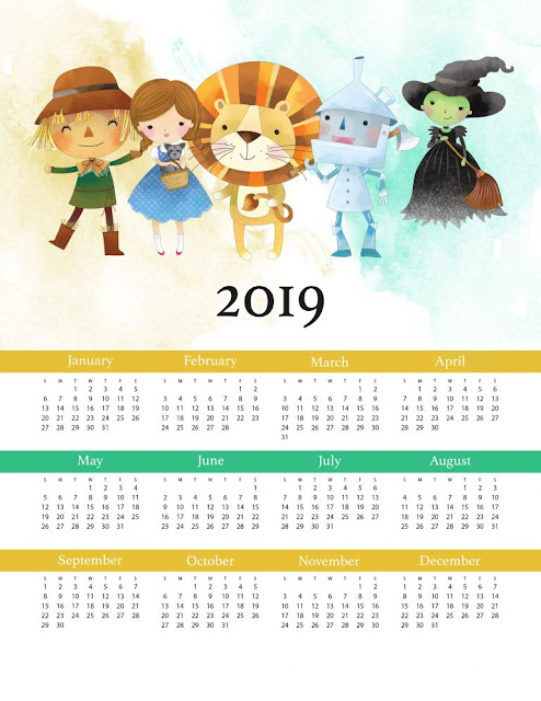 Wizard of Oz 2019 Free Printable Calendar.