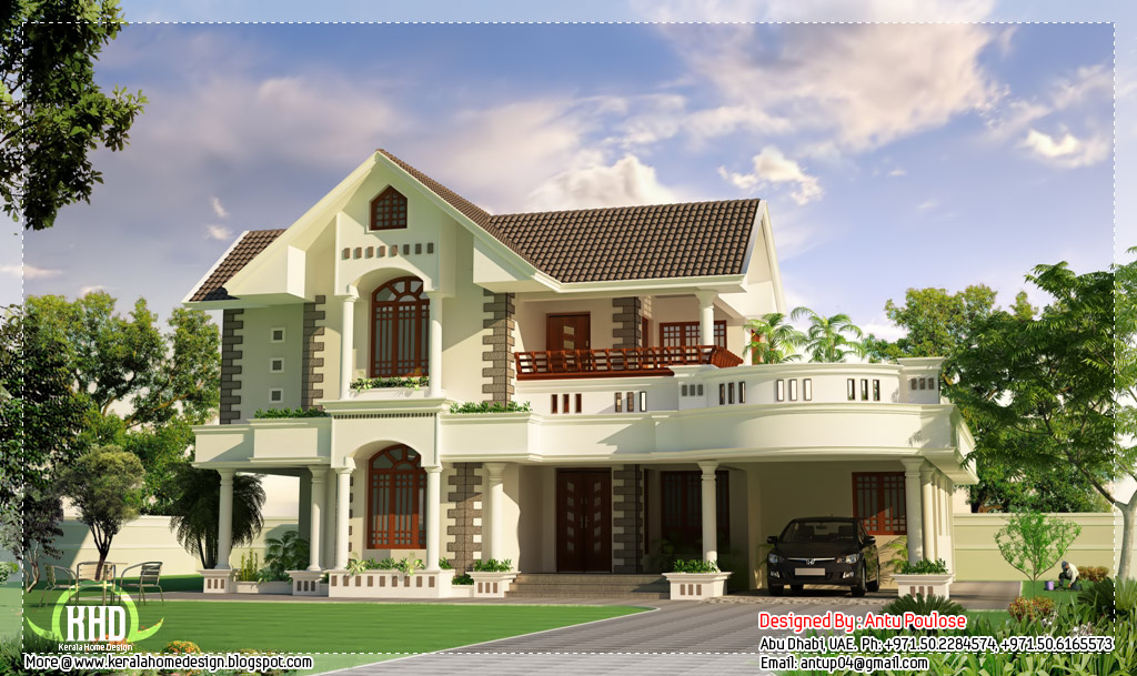Superb kerala style 3 bedroom house kerala home design for Beautiful 5 bedroom house plans with pictures
