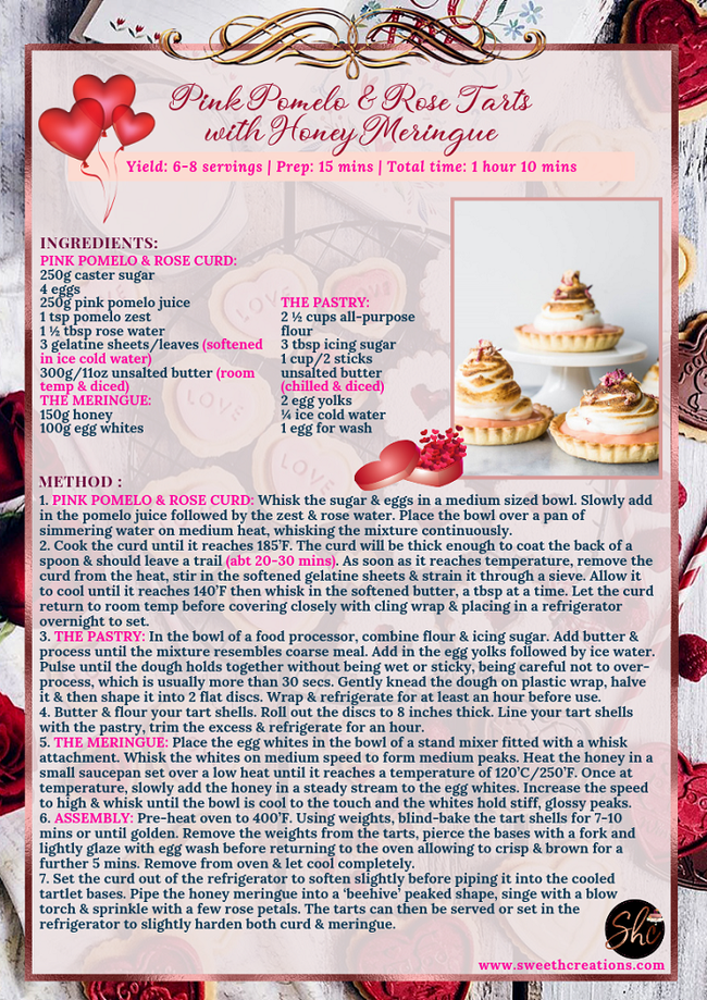 PINK POMELO & ROSE TARTS WITH HONEY MERINGUE RECIPE