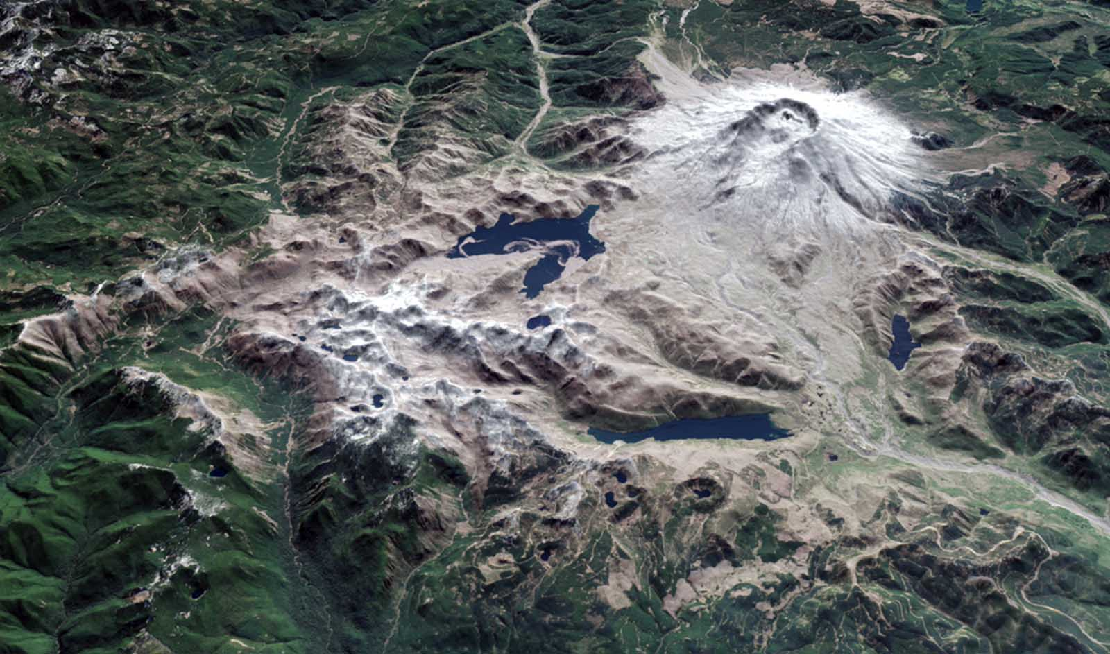 Satellites in orbit and scientists on the ground still monitor the mountain and track the recovery of Mt. St. Helens. This image shows a three-dimensional view of the mountain, looking toward the southeast, as it appeared on April 30, 2015. The image was assembled from data acquired by the Operational Land Imager on Landsat 8 and the Advanced Spaceborne Thermal Emission and Reflection Radiometer (ASTER) on Terra.
