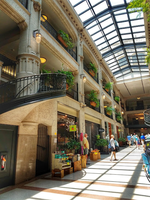 Inside the Grove Arcade, premier area for shopping and entertainment in Asheville