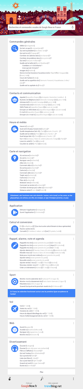 Commandes vocales de Google Now en français pour iOS et Android