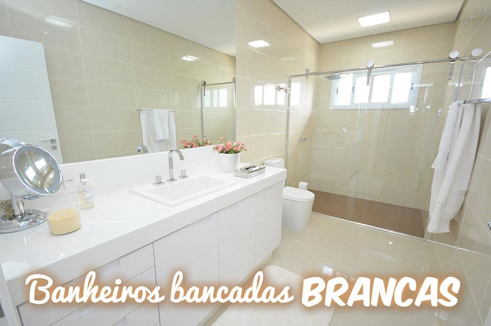Construindo Minha Casa Clean 20 Bancadas Brancas de BanheirosLavabos  Veja -> Decoracao Banheiro Clean