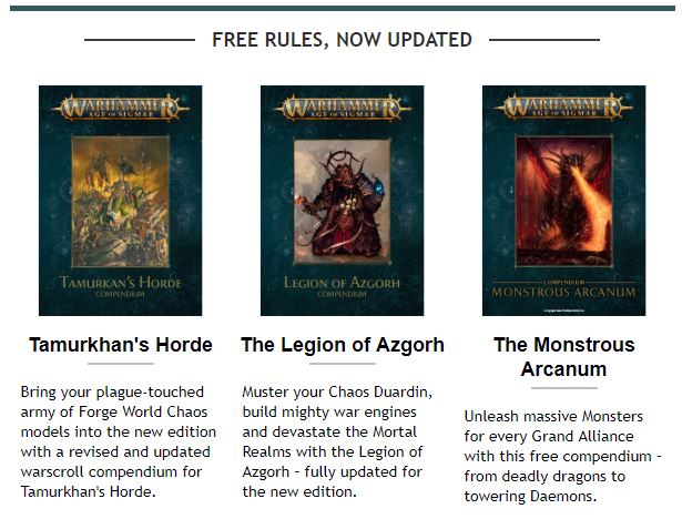 Hordes of Nurgle, Chaos Dwarves, and Monsters..... All for Downloadable for free.