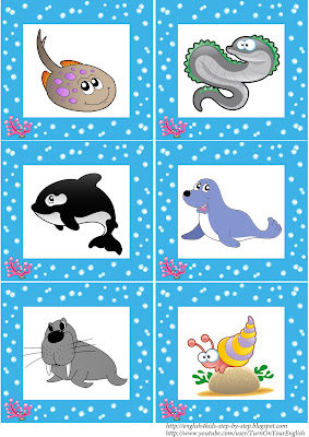 sea animals flashcards for learning esl