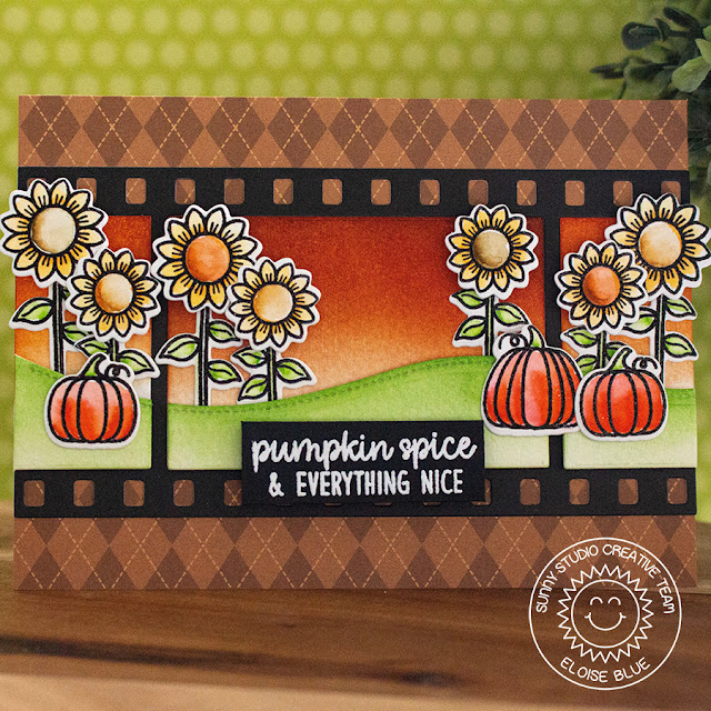 Sunny Studio Stamps: Fall Flicks Filmstrip Dies Happy Harvest Woodland Borders Sunflower Field Card by Eloise Blue