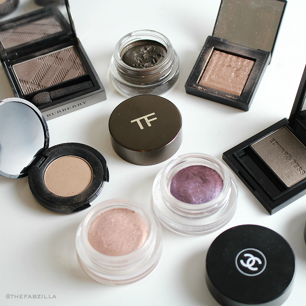 best singe eyeshadows, Burberry Sheer Eyeshadow Taupe Brown, Nars Dual Intensity Himalia, Tom Ford Cream Color for Eyes, naked urban decay moon dust,review, swatch