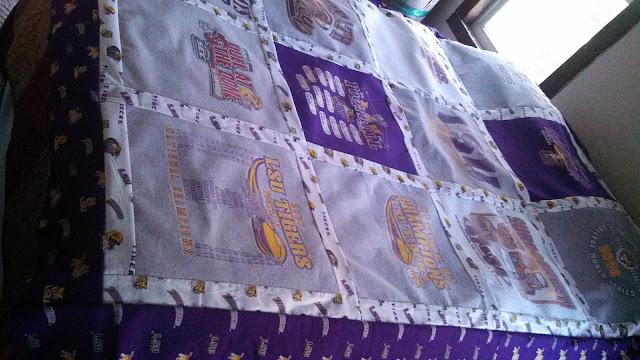 LSU fleece backed t-shirt quilt