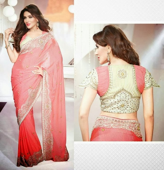 Luxury Designs Of Sarees With Back Neck Blouse For Young ...