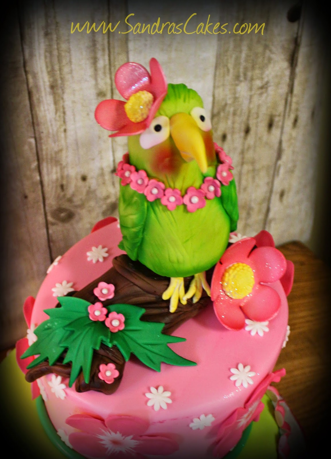 Another Fun Cake For Gabby This Year She Quested A Special Parrot With Luau Flower On Her Head As Topper Happy 8th Birthday