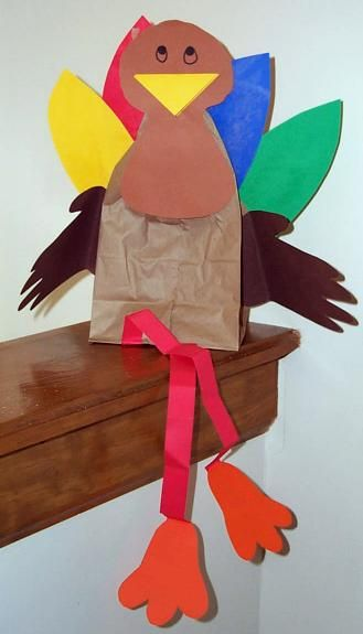shelf sitting paper bag turkey activity craft