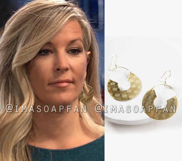 Carly Corinthos, Laura Wright, Engraved Honeycomb Disc Drop Earrings, General Hospital, GH
