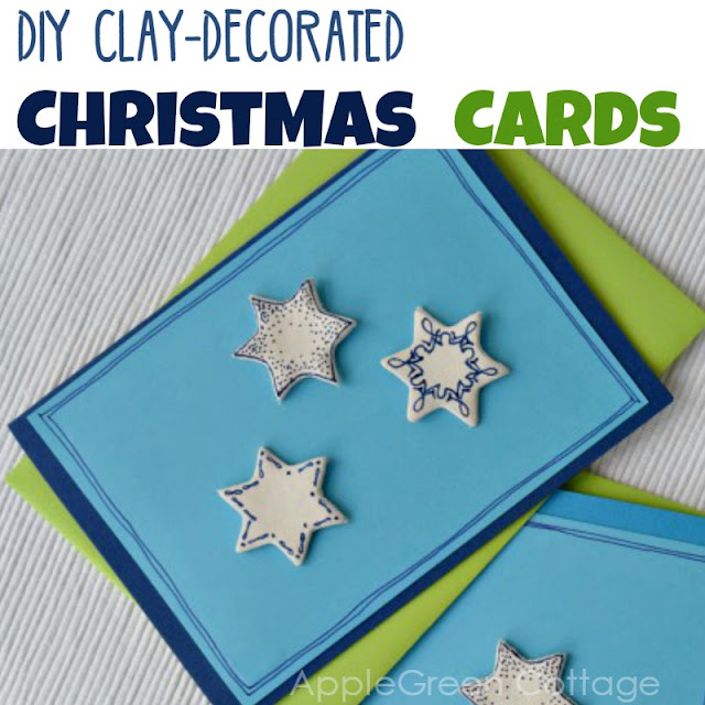 Christmas cards with clay decorations