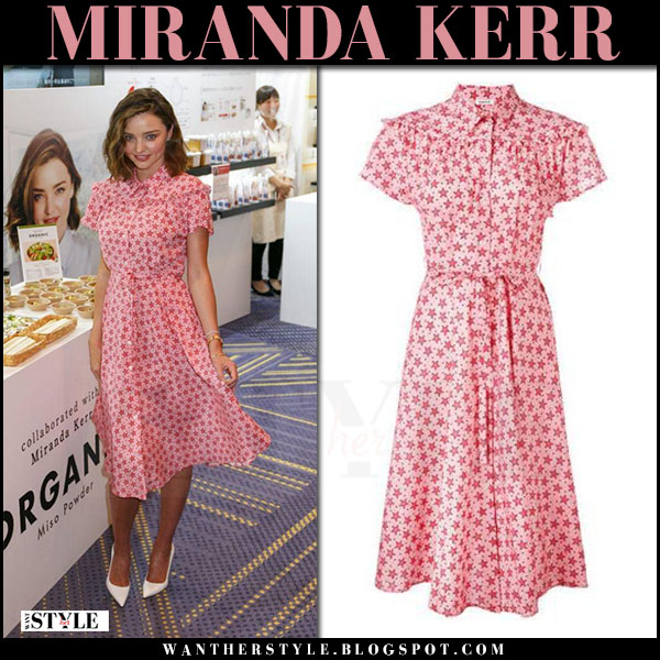 Miranda Kerr in pink star print dress and white pumps japan july 10 2017 what she wore