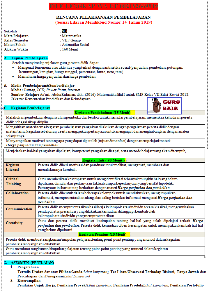 gambar contoh rpp matematika kelas 7 1 lembar revisi 2020