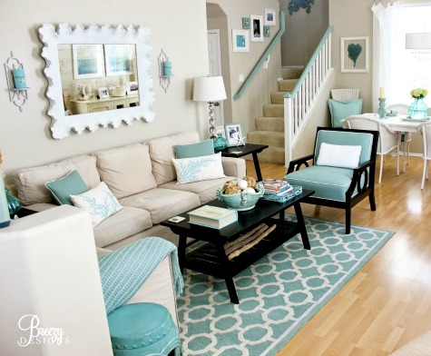 Aqua and Black Coastal Living Room
