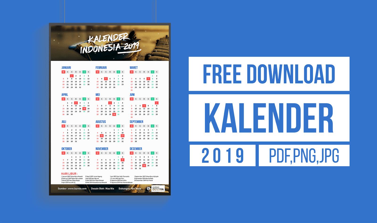 Kalender Indonesia 2019 Lengkap (PDF, JPG, PNG, HD ...