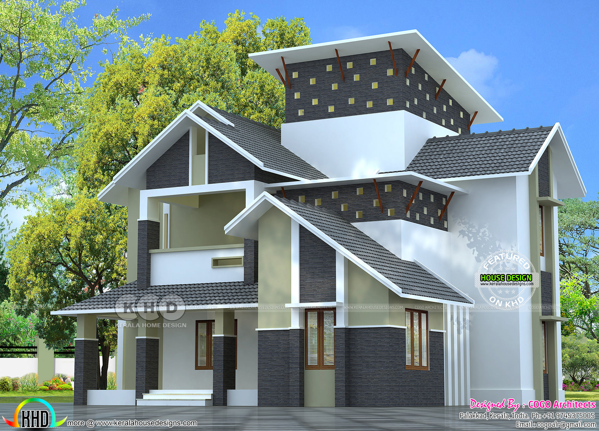 Modern sloping roof 2275 square feet home kerala home Modern roof design