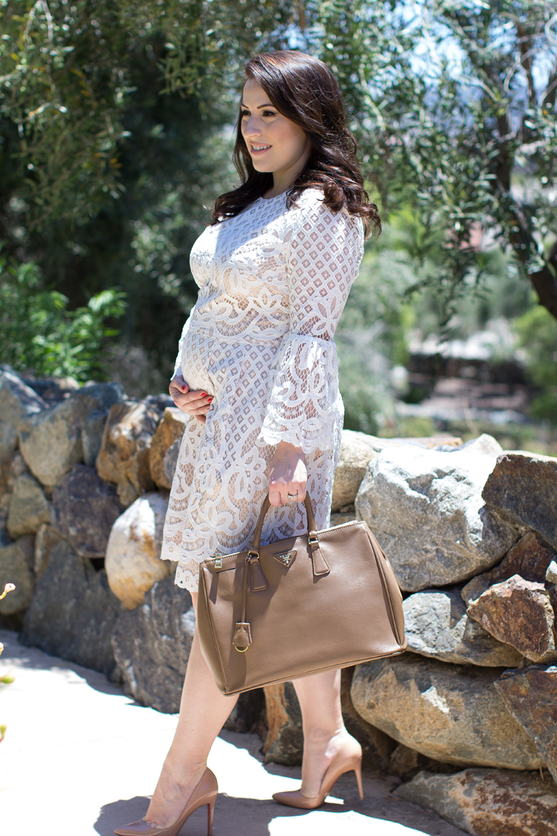 white lace bell sleeve dress, pregnancy style. 20 weeks pregnant bump