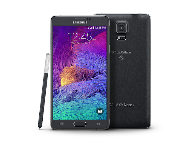"Samsung Galaxy Note 4 (USA) Specifications -  LAUNCH Announced 2014, Q4 Versions N910M (Vodafone), N910V (Verizon), N910A (AT&T), N910T (T-Mobile), N910P (Sprint), N910R4 (US Cellular) DISPLAY Type Super AMOLED capacitive touchscreen, 16M colors Size 5.7 inches (~73.4% screen-to-body ratio) Resolution 1440 x 2560 pixels (~518 ppi pixel density) Multitouch Yes Protection Corning Gorilla Glass 4 BODY Dimensions 153.5 x 78.6 x 8.5 mm (6.04 x 3.09 x 0.33 in) Weight 176 g (6.21 oz) SIM Micro-SIM   Stylus PLATFORM OS Android OS, v4.4.4 (KitKat), upgradable to v6.0.1 (Marshmallow) CPU Quad-core 2.7 GHz Krait 450 Chipset Qualcomm Snapdragon 805 GPU Adreno 420 MEMORY Card slot microSD, up to 256 GB (dedicated slot) Internal 32 GB, 3 GB RAM CAMERA Primary 16 MP, f/2.2, 31mm, OIS, autofocus, LED flash Secondary 3.7 MP, f/1.9, 22mm, 1440p@30fps, 1080p (HDR) Features 1/2.6"" sensor size, 1.12 µm pixel size, geo-tagging, touch focus, face/smile detection, panorama, HDR Video 2160p@30fps, 1080p@60fps, dual-video rec NETWORK Technology GSM / CDMA / HSPA / EVDO / LTE 2G bands CDMA 800 / 1900  GSM 850 / 900 / 1800 / 1900 3G bands CDMA2000 1xEV-DO    HSDPA 850 / 900 / 1900 / 2100 4G bands LTE band 2(1900), 4(1700/2100), 5(850), 12(700), 17(700) Speed HSPA, LTE Cat4 150/50 Mbps, EV-DO Rev.A 3.1 Mbps GPRS Yes EDGE Yes COMMS WLAN Wi-Fi 802.11 a/b/g/n/ac, dual-band, Wi-Fi Direct, hotspot NFC Yes GPS Yes, with A-GPS, GLONASS USB microUSB v2.0 (MHL 3 TV-out), USB Host Radio No Bluetooth v4.1, A2DP, EDR, LE Infrared Port Yes FEATURES Sensors Fingerprint, accelerometer, gyro, proximity, compass, barometer, gesture, UV, heart rate, SpO2 Messaging SMS(threaded view), MMS, Email, Push Mail, IM Browser HTML5 Java No SOUND Alert types Vibration; MP3, WAV ringtones Loudspeaker Yes 3.5mm jack Yes  - 24-bit/192kHz audio - Active noise cancellation with dedicated mic BATTERY  Removable Li-Ion 3220 mAh battery Stand-by Up to 212 h (3G) Talk time Up to 31 h 20 min (3G) Music play Up to 80 h MISC Colors Frosted white, Charcoal black, Bronze Gold, Blossom Pink SAR US 0.88 W/kg (head)     1.40 W/kg (body)    - Fast battery charging: 60% in 30 min (Quick Charge 2.0) - ANT+ support - S-Voice natural language commands and dictation - Air gestures - Dropbox (50 GB cloud storage) - MP4/DivX/XviD/WMV/H.264 player - MP3/WAV/eAAC+/AC3/FLAC player - Photo/video editor - Document editor"