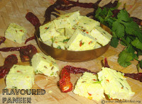 images of How To Make Flavoured Paneer / Spiced Home Made Paneer / Flavored Paneer Recipe / Flavored Cottage Cheese