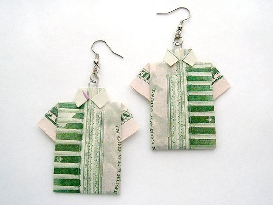 T-shirt dollar bill earrings