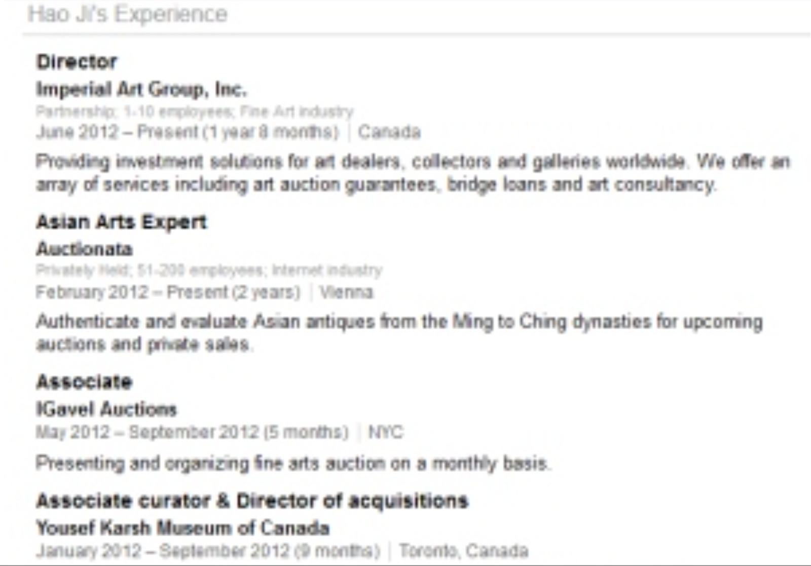 Linkedin resume of Convicted fraudster and former Auctionata employee Hao Ji aka Joseph Hokai Tang
