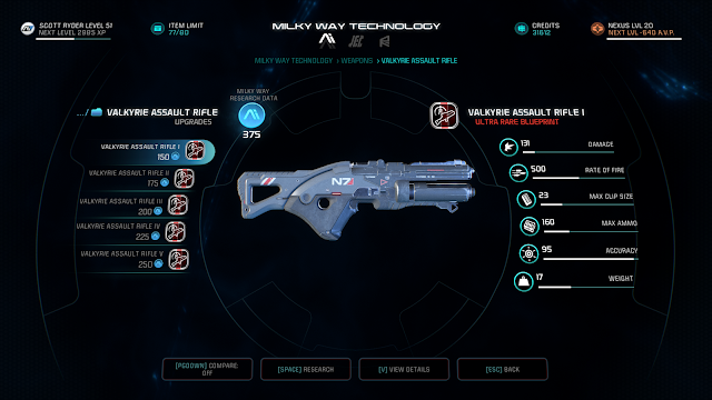 This shows the stats of the valkyrie assault rifle and upgrade options