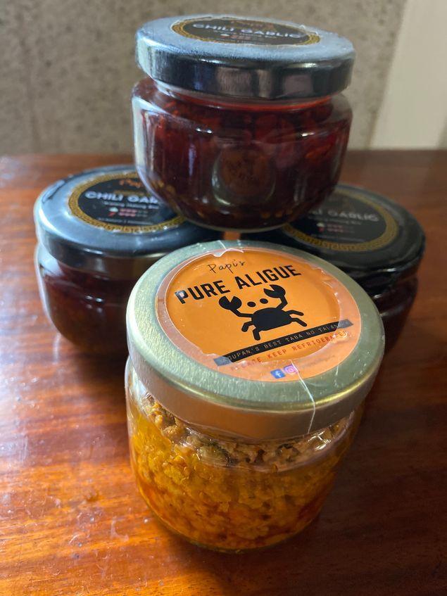 Stock of Papi's Chili Garlic and aligue or crab fat