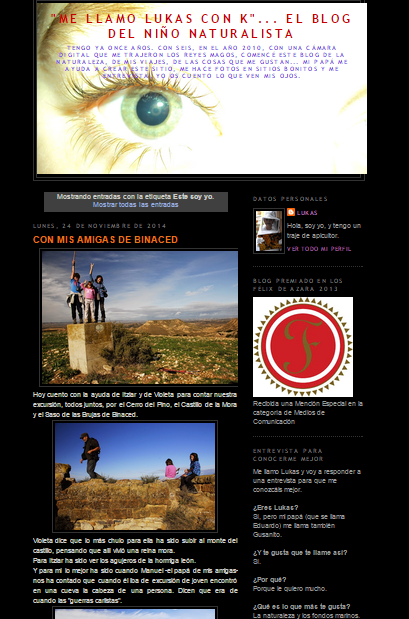 Pantallazo del blog 'Me llamo Lukas con K...' recuperado el 28/11/2014 de http://lukas-gusanito.blogspot.com.es/