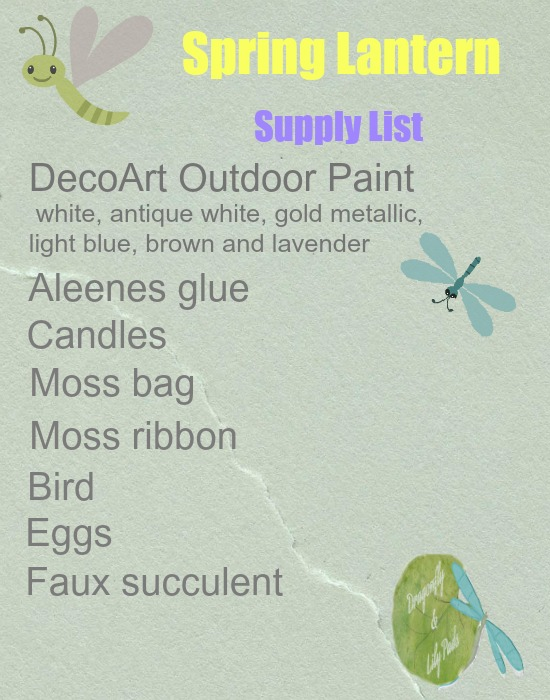 White lantern, Supply List, Dragonflies, List of supplies used in the project.