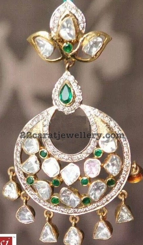 Uncut Diamonds and Diamonds Chandbalis