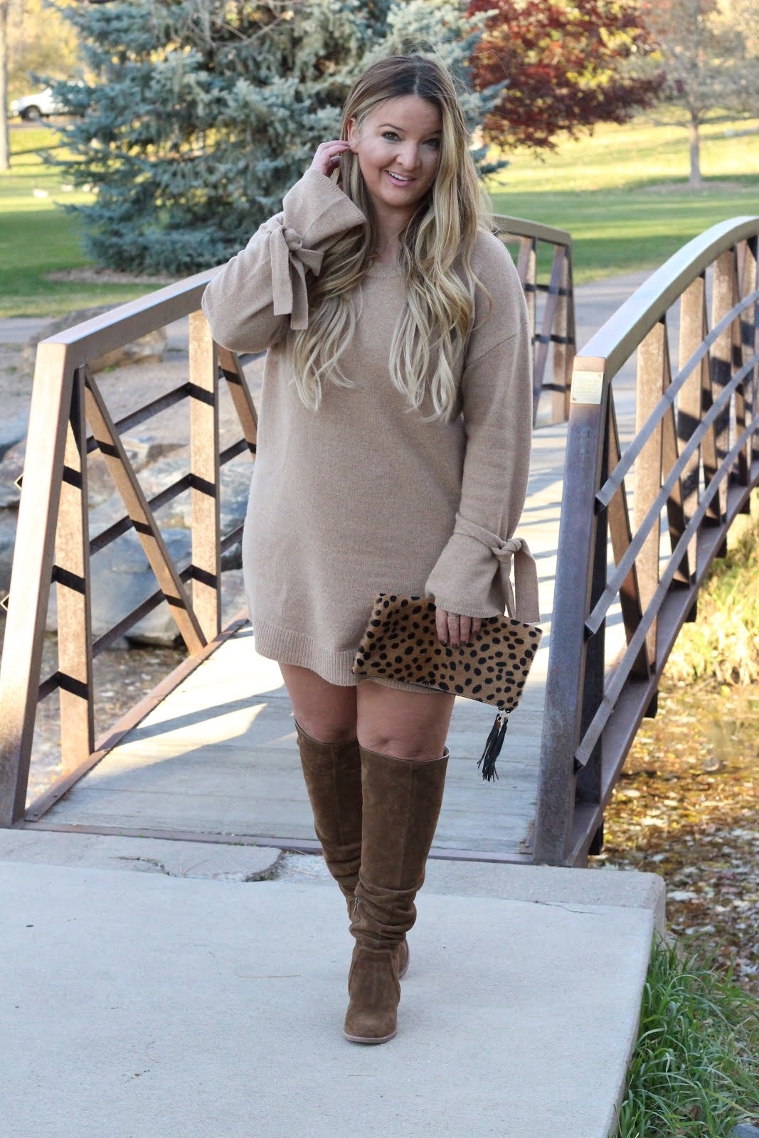 Tan sweater dress and Brown OTK boots by Denver fashion blogger Delayna Denaye