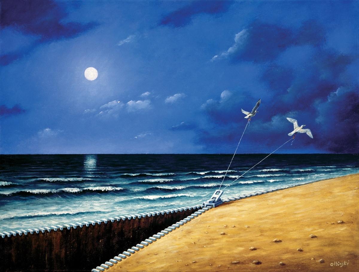 03-Zip-on-the-Beach-Rafal-Olbinski-Surreal-Paintings-that-Whisper-a-Message-www-designstack-co