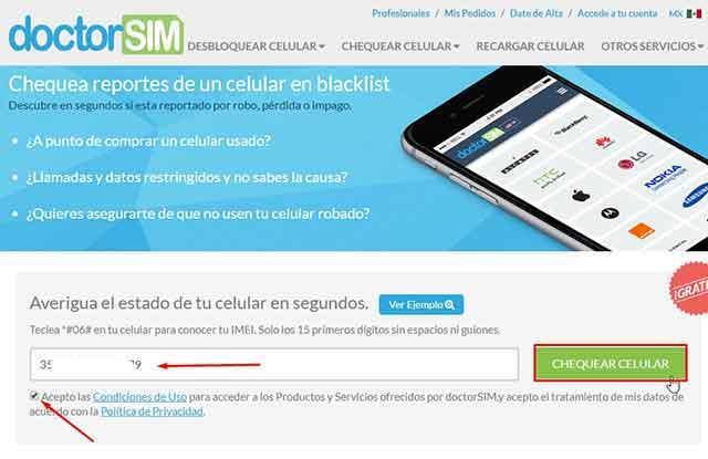 Chequear Gratis Reporte de IMEI