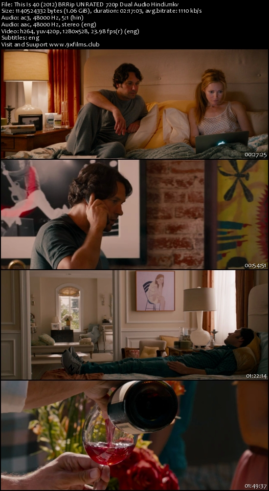 This Is 40 (2012) BRRip UNRATED 720p Dual Audio Hindi 1GB