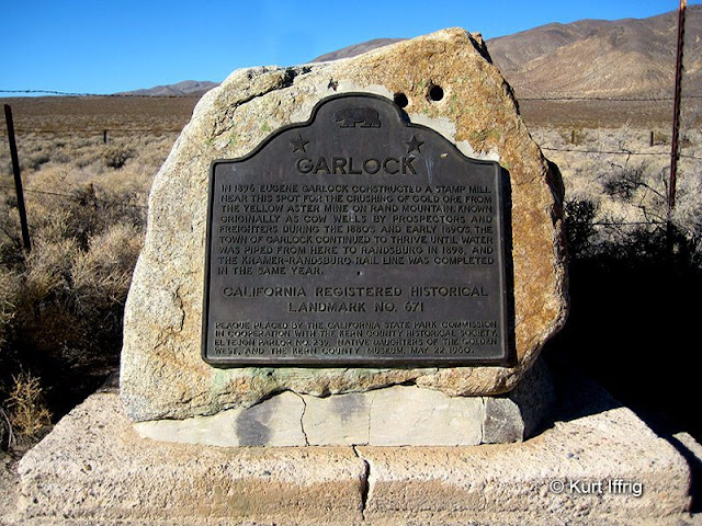 California Landmark #671 explains the basic story of Garlock. This stone was supposedly near the site of the town's first mill.