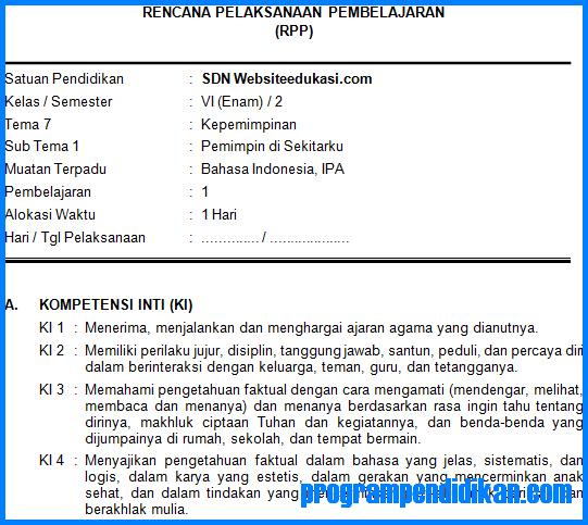 RPP Kelas 6 SD/MI Tema 7 K13 Revisi 2018