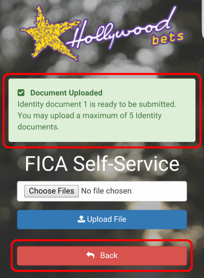You will receive a green confirmation message that your FICA document has uploaded. Once done, click Back.